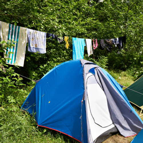 dry wet clothes outside while camping in the rain