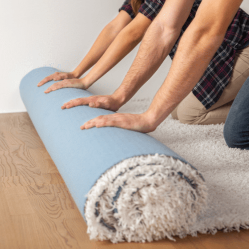 Cover The Floor With Carpet or Rug To Trap Heat
